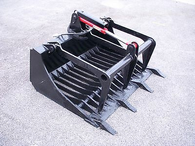 """Bobcat Skid Steer Attachment - 48"""" Rock Bucket Grapple with Teeth - Free Ship!!"""