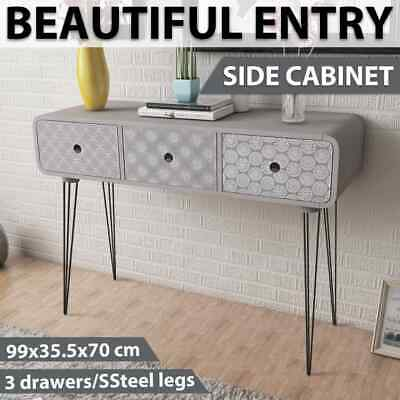 MDF Side Cabinet Console Table w/ 3 Drawers Steel Legs Hallway Display Desk Grey