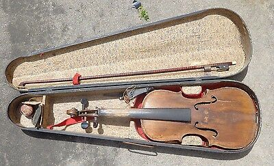old  full size 4/4 violin for repair with bow in case