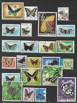 Butterflies small lot of used stamps