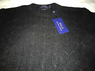 new Polo Ralph Lauren Black Cable knit 100%Cashmere Crew Neck Sweater S NWT $398