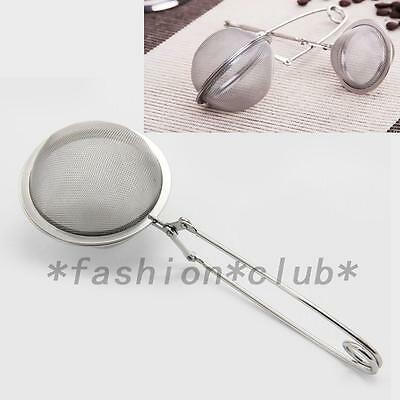 Home Stainless Strainer Steel Mesh Ball Tea Leaves Filter Squeeze Locking Spoon