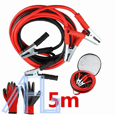 Heavy Duty Battery Jump Start Leads Cable 2000AMP 5M Long Jump leads With gloves