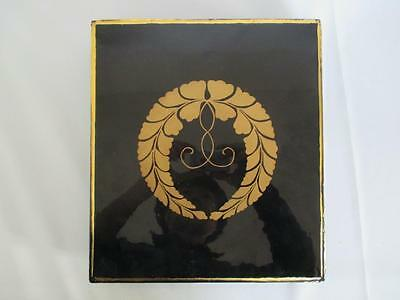 Japanese old wooden lacquered Buddhist box w/Sutra book/ nice crest/ 6771