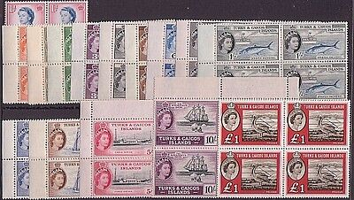 TURKS & CAICOS Is 1957-60 definitive set in blocks of 4 MNH................35256