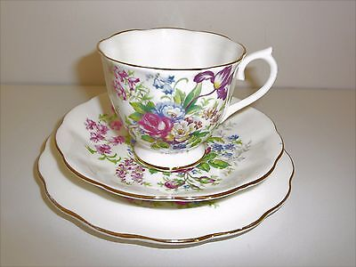 Royal Albert England trio cup saucer plate flowers pink blue yellow bunch pretty