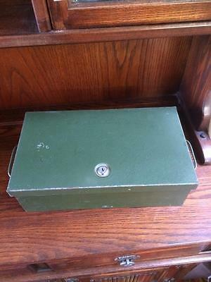 Vintage Industrial Green Metal Double Handled Box