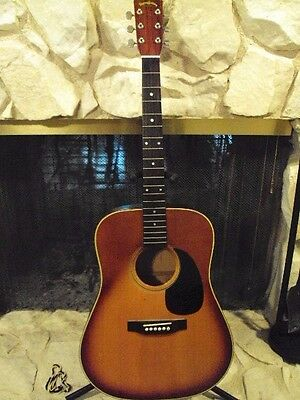 Vintage Martin Sigma Acoustic Guitar, Hand Painted American Eagle,Folk Art Piece