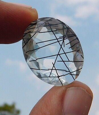 22.85 Cts Good Quality Free Shipping Black Doublete Rutile 24X18X9 Mm Loose