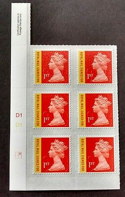 2016 M16L Royal Mail signed for Machin Cylinder Block of 6 2:2 Grid