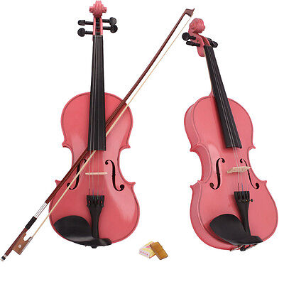 New 1/4 Size Kid Basswood Acoustic Violin Fiddle with Case Bow Rosin Pink
