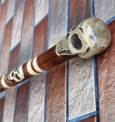 Skull Cane Walking Stick Wooden Handmade Wood Carving Exclusive Gift_/