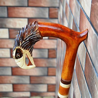 EAGLE Cane Walking Stick Wood Handmade Wood Carving Exclusive Gift_.