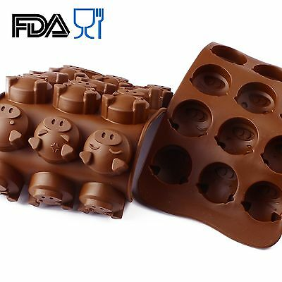 Pig Silicone Mold 15 Cavity Chocolate Cake Baking DIY Soap Cute Mould SCM01C-03