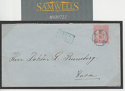 MS722 1875 Finland SUPERB BLUE CDS *ABO* 40p Franking Local Mail Cover Wasa