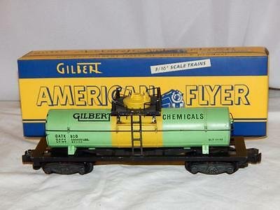 American Flyer 910 Gilbert Chemicals Tank car die cast frame 1954 Celanese color