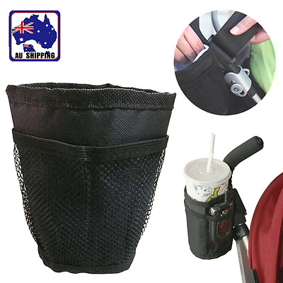 Baby Stroller Pram Cup Holder Universal Water Bottle Drink Bag Black BMOB60505