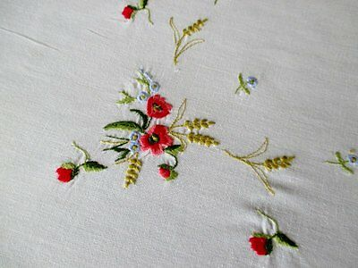 "PRETTY TABLECLOTH EMBROIDERED with FLOWERS - 32""sq."