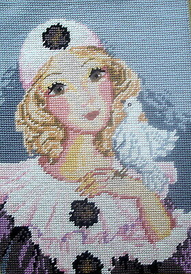 Royal Paris Completed Tapestry Cross Stitch Picture Unframed French Clown & Dove