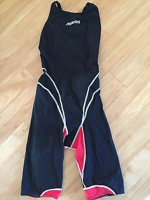 Girls Mosconi Knee Swimsuit Red/Black age 12 - 13
