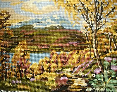 Completed Tapestry Cross Stitch Picture Unframed Scotland Loch & Mountains