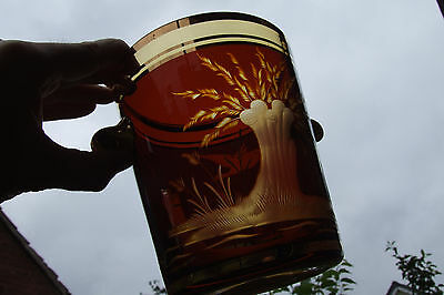 Superb cut flashed glass red on amber gilded Victorian vase IMMACULATE