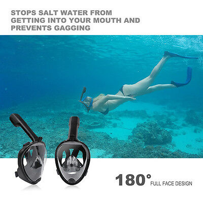 180° Full Face Snorkel Mask Surface Swimming Diving Scuba underwater Tool S