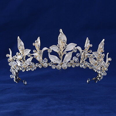 5.5cm High Gold Big Leaf Crystal Wedding Bridal Party Pageant Prom Tiara Crown