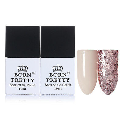 2x  Nail UV Gel Polish Pink Glitter Sequins Soak Off Varnish BORN PRETTY
