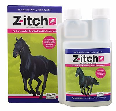 Z-itch - Horse Sweet itch Pour-on Solution x 250 Ml Control Aid Of Biting Insect