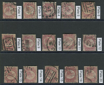 Queen Victoria 1870 ½d Bantams (complete set of Plates 1 to 20), SG.48/9 . . .