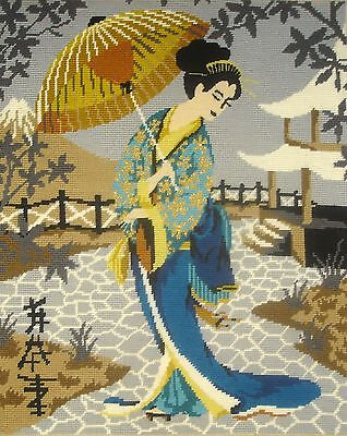Penelope Large Completed Tapestry Cross Stitch Picture Unframed Geisha