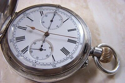 A SILVER HUNTER CASED CHRONOGRAPH POCKET WATCH c.1910