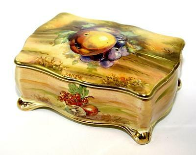 Vintage ROYAL WINTON 'Orchard Gold' Candy Box, Hand Painted & Signed, Perfect