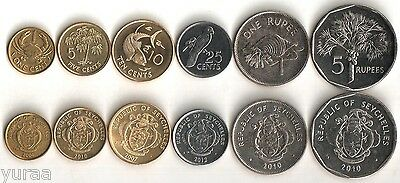 Seychelles - Set of 6 Coins 2004-2012 UNC, 1, 5, 10, 25 Cents, 1, 5 Rupees
