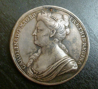Queen Caroline Official Silver Coronation Medallion 1727 By Croker holed Rare