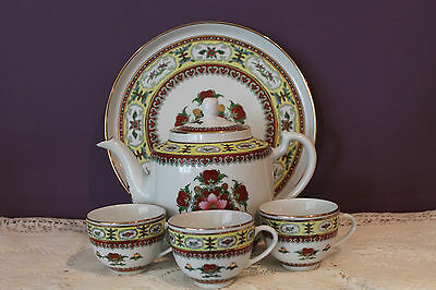 Vintage Tea Set With Tray And 3 Cups - Floral Design - Made In China