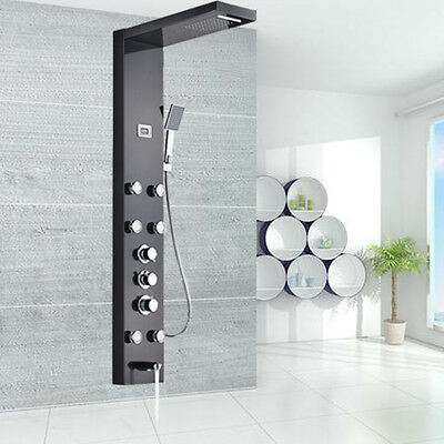 Black Stainless Steel Thermostatic Multi-Function Shower Tower Panel W/ Handheld