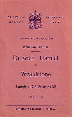 DULWICH HAMLET v WEALDSTONE 1968/69 ISTHMIAN LEAGUE