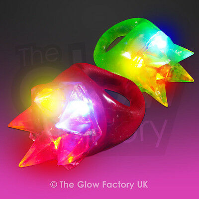 Light Up LED Ring Flashing Jelly Rainbow Rings