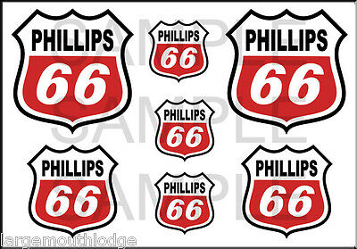 Vintage Style 1 3/4 And 1/2 Inch Phillips 66 Red Oil Decal Sticker