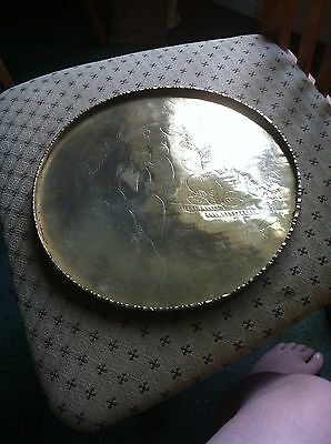 Antique Chinese brass tray impressed china to back