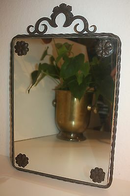 Antique Wall Mirror Wrought Iron French Art Deco Subes Style/Wand Spiegel Antik