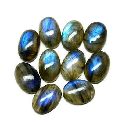 LARGE 18x13mm OVAL CABOCHON-CUT NATURAL AFRICAN LABRADORITE GEMSTONE £1 NR