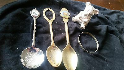 Collectable collectors teddy bear babys first tooth bracelet tea spoons bundle h