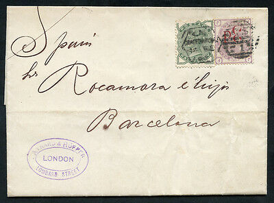 1883 cover from London to Barcelona, scarce franking ½d green & 3d on 3d . . .