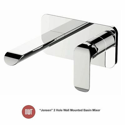 """Jensen"" Chrome 2 Hole Wall Mounted Basin Mixer - Designer Bathroom Taps"