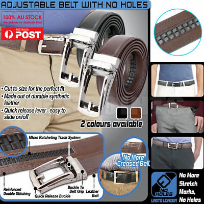 Mens Belt Adjustable w/ No Hole Leather Belts Buckle Pin Waist