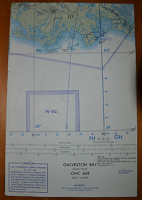1962 GALVESTON BAY ONC 468 Gulf of MEXICO~USAF OP NAV Chart/MAP~Grt Cond~Vintage