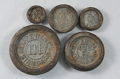 Antique Imperial Standard Set of 5 Trade Scale Weights, Cast Iron Nest Weights